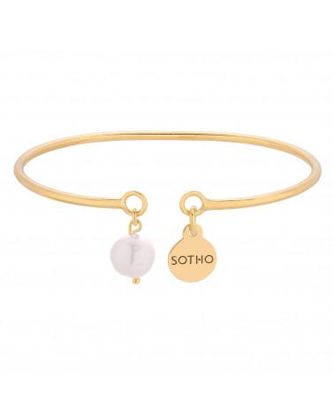 Złota sztywna bransoletka z naturalną perłą