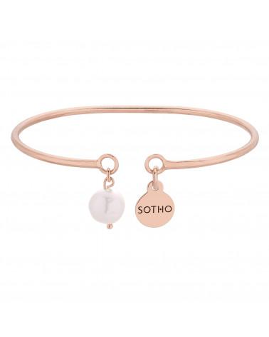 Sztywna bransoletka z różowego złota z naturalną perłą