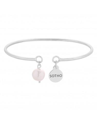 Srebrna sztywna bransoletka z naturalną perłą