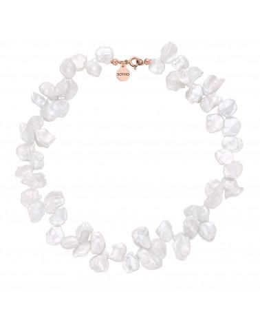 Naszyjnik z różowego złota z naturalnych pereł