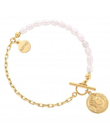 Złota bransoletka z naturalnych pereł zdobiona monetą