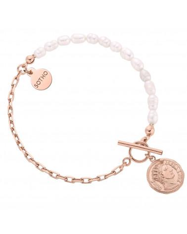 Bransoletka z pereł naturalnych zdobiona monetą z różowego złota