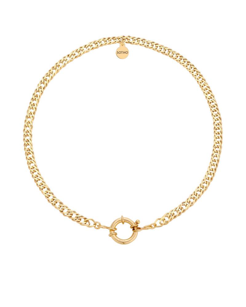 Złoty masywny łańcuch z ozdobnym zapięciem