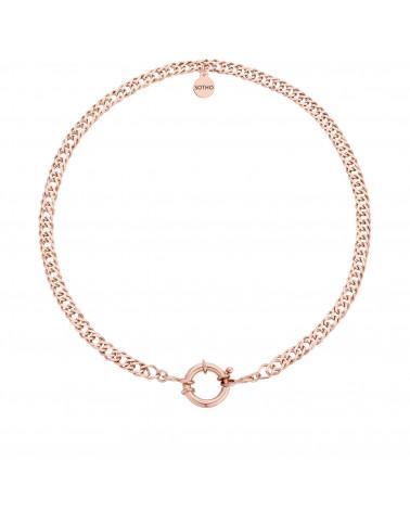 Masywny łańcuch z ozdobnym zapięciem z różowego złota