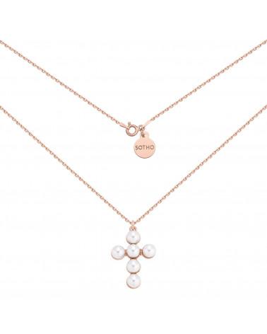 Naszyjnik z różowego złota z krzyżem zdobionym perłami