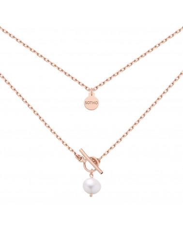 Masywny łańcuszek z różowego złota z naturalna perłą