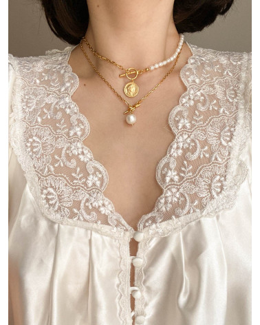 Srebrny masywny łańcuszek z naturalną perłą