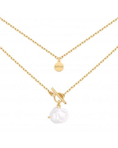 Złoty masywny naszyjnik z naturalną nieregularną perłą