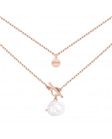 Masywny naszyjnik z różowego złota z naturalną nieregularną perłą