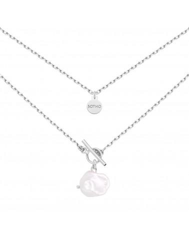 Srebrny masywny naszyjnik z naturalną nieregularną perłą