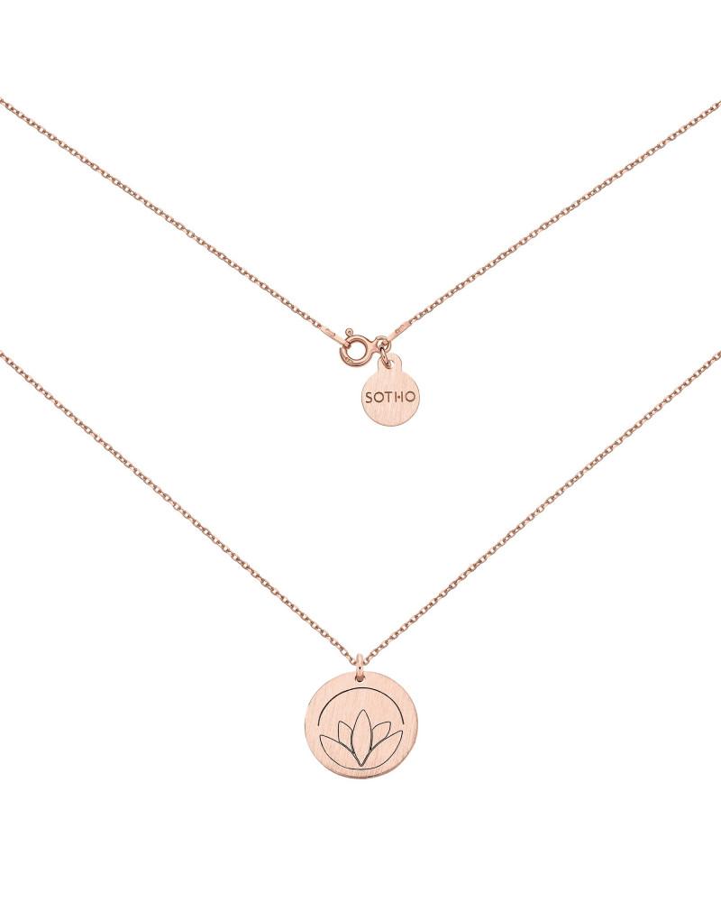 Medalion z różowego złota z lotosem