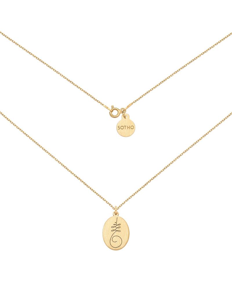 Złoty medalion  z symbolem Unalome