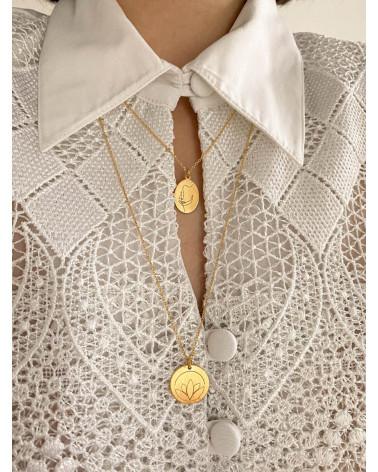 Medalion z różowego złota Face N°8