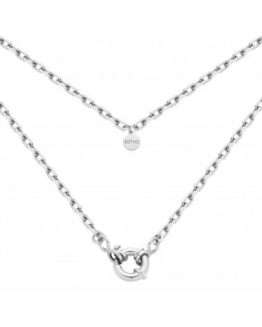 Srebrny łańcuch z ozdobnym zapięciem