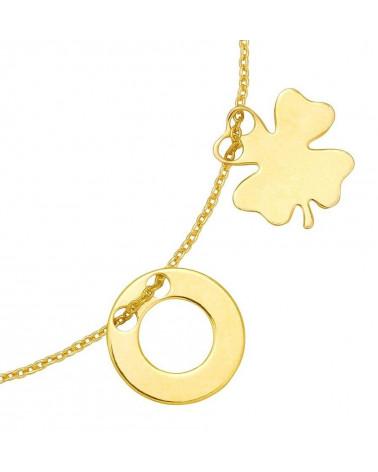 Złota bransoletka z koniczynką i karmą