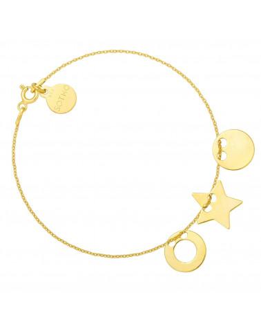 Złota bransoletka z trzema zawieszkami karmami i gwiazdką