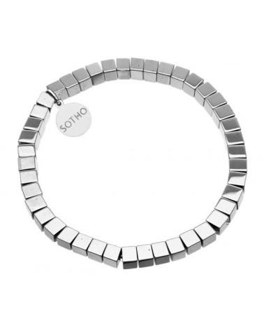 Srebrna bransoletka modowa hematyt kostka srebro 925