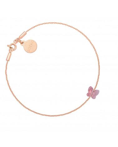 Bransoletka z różowego złota zdobiona różowym motylkiem SWAROVSKI® CRYSTAL