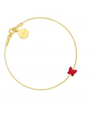 Złota bransoletka zdobiona czerwonym motylkiem SWAROVSKI® CRYSTAL
