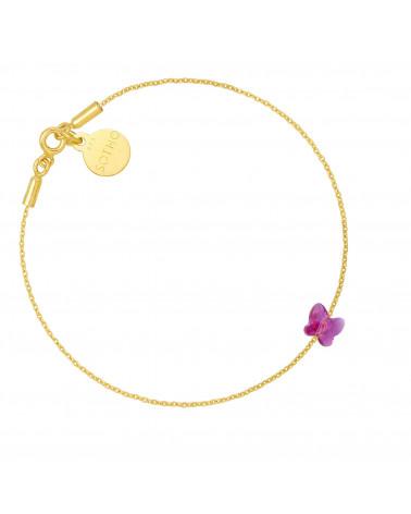 Złota bransoletka zdobiona ciemnoróżowym motylkiem SWAROVSKI® CRYSTAL
