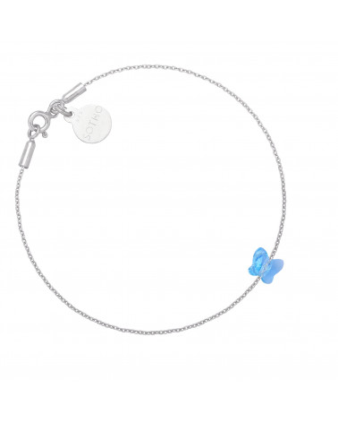 Srebrna bransoletka zdobiona niebieskim motylkiem SWAROVSKI® CRYSTAL