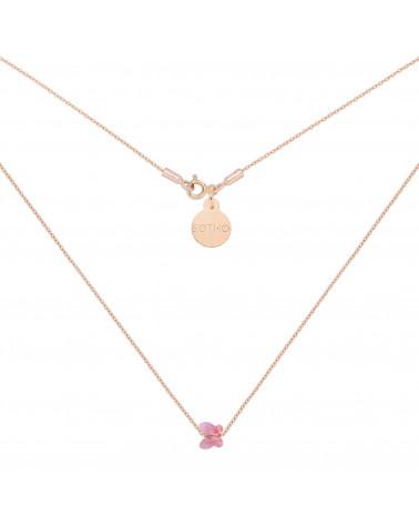 Naszyjnik z różowego złota zdobiona różowym motylkiem SWAROVSKI® CRYSTAL
