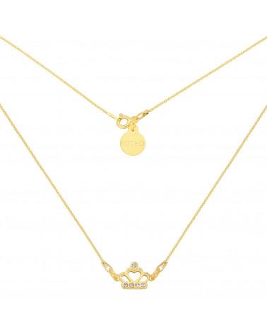 Złoty krótki naszyjnik z koroną wysadzaną kryształami SWAROVSKI® CRYSTAL
