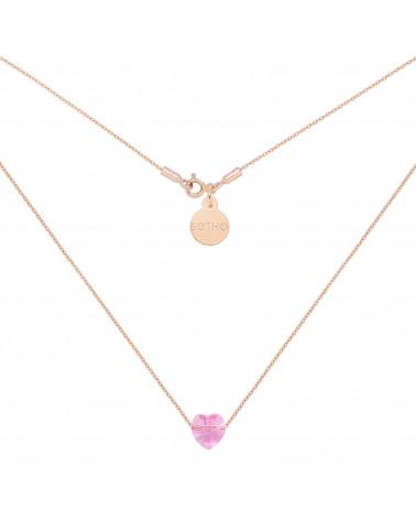 Naszyjnik z różowego złota zdobiona serduszkiem SWAROVSKI® CRYSTAL