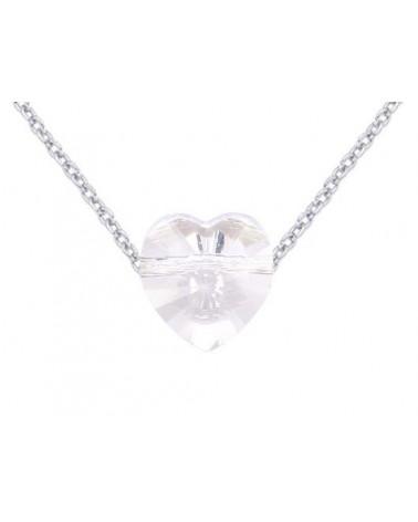 Srebrny naszyjnik zdobiony kryształowym serduszkiem SWAROVSKI® CRYSTAL