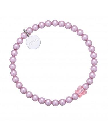 Różowa bransoletka zdobiona kryształowym motylkiem SWAROVSKI® CRYSTAL