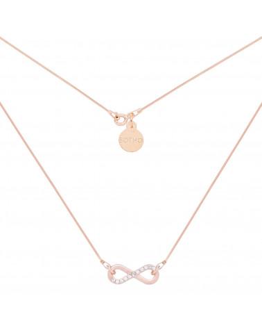 Naszyjnik z różowego złota zdobiony nieskończonością z kryształkami SWAROVSKI® CRYSTAL