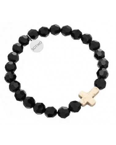 Czarna męska kryształowa bransoletka biały krzyż howlit SWAROVSKI® ELEMENTS
