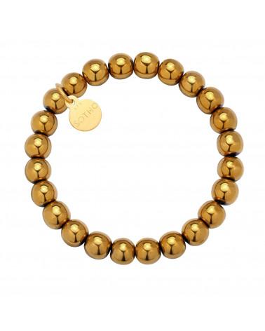 Złota bransoletka z gładkiego hematytu