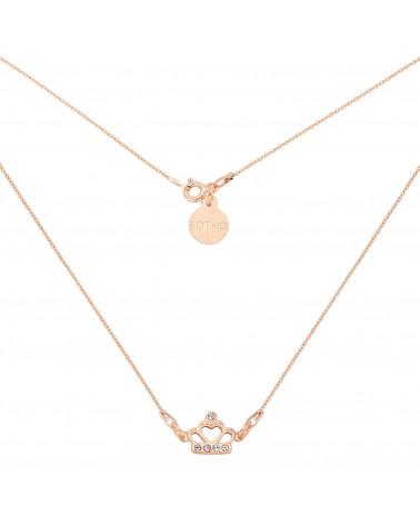 Krótki naszyjnik z różowego złota z koroną wysadzaną kryształami SWAROVSKI® CRYSTAL