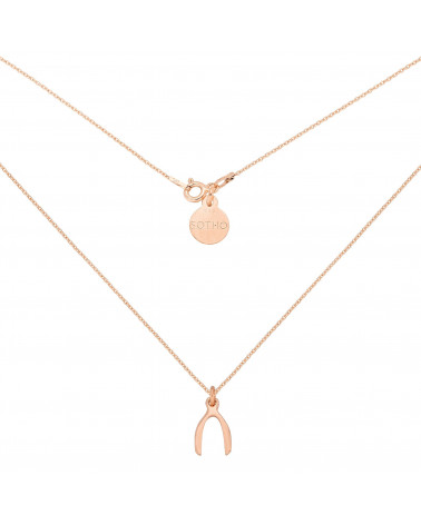 Naszyjnik z różowego złota z kością szczęścia Wishbone