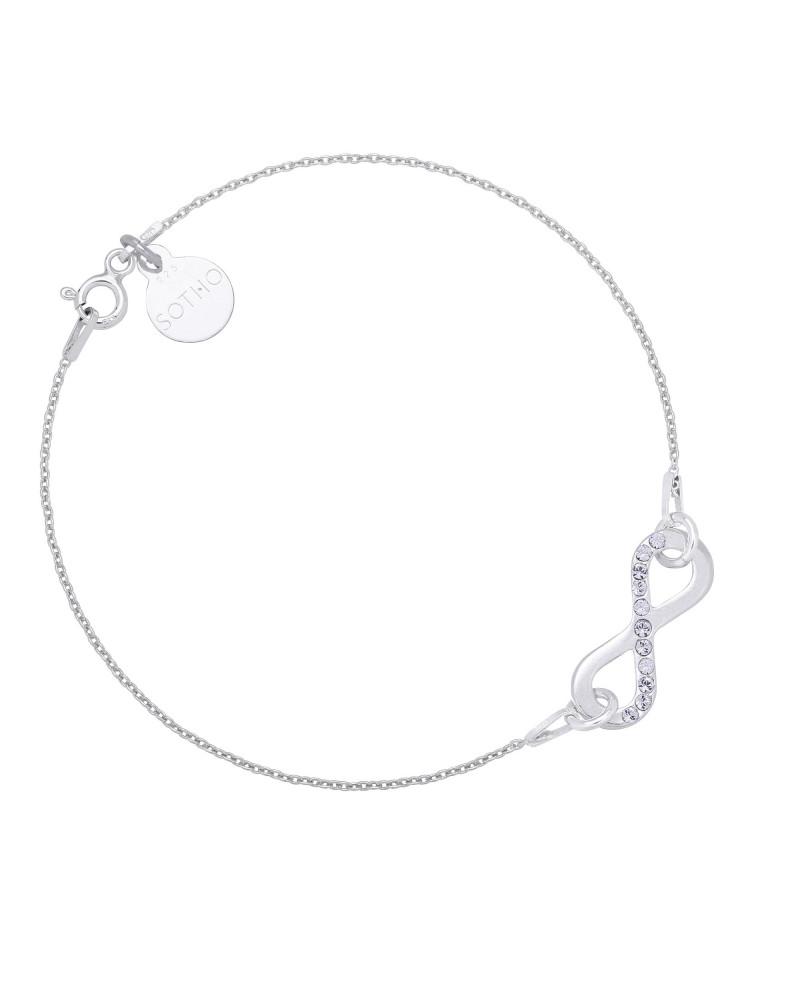 Srebrna bransoletka z nieskończonością z kryształkami SWAROVSKI® CRYSTAL