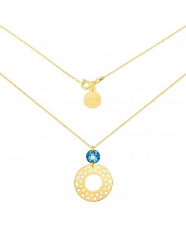 Złoty naszyjnik z dużą arabską rozetą i turkusowym kryształem SWAROVSKI® CRYSTAL