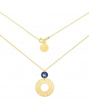Złoty naszyjnik z dużą arabską rozetą i ciemnoniebieskim kryształem SWAROVSKI® CRYSTAL