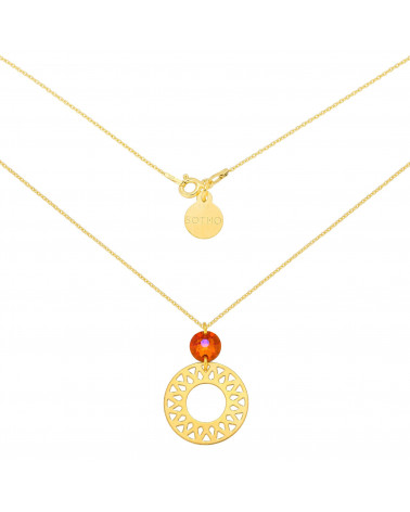 Złoty naszyjnik z dużą arabską rozetą i pomarańczowo-różowym kryształem SWAROVSKI® CRYSTAL