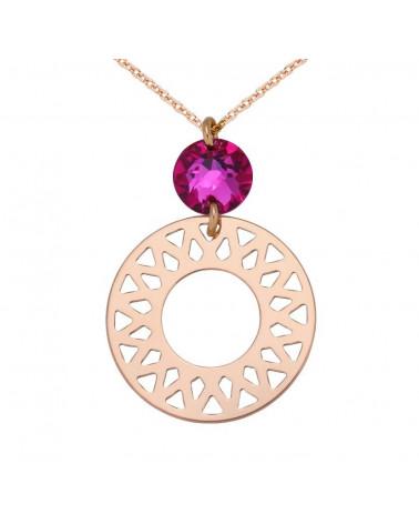 Naszyjnik z różowego złota z dużą arabską rozetą i różowym SWAROVSKI® CRYSTAL