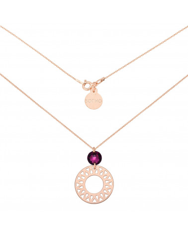 Naszyjnik z różowego złota z dużą arabską rozetą i ametystowym SWAROVSKI® CRYSTAL