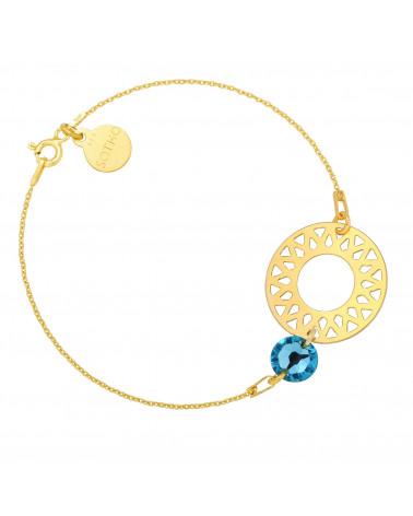 Złota bransoletka z dużą arabską rozetą i turkusowym kryształem SWAROVSKI® CRYSTAL