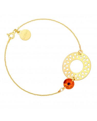 Złota bransoletka z dużą rozetą i pomarańczowo-różowym kryształem SWAROVSKI® CRYSTAL