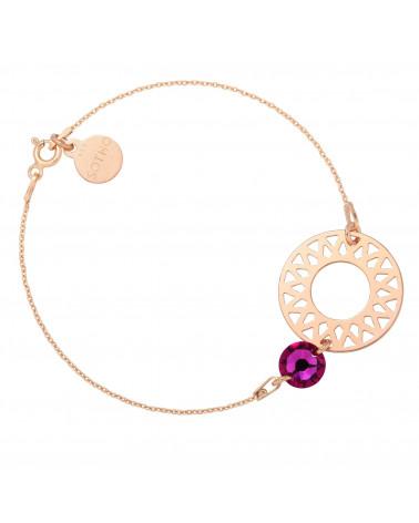 Bransoletka z różowego złota dużą rozetą i ciemno różowym kryształem SWAROVSKI® CRYSTAL