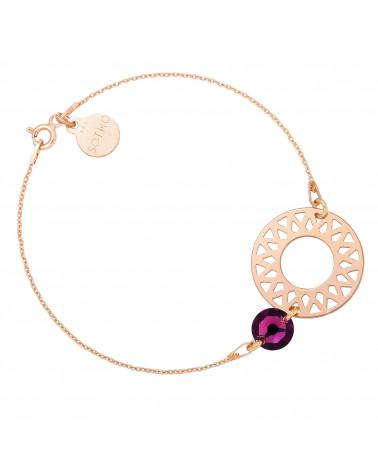 Bransoletka z różowego złota dużą rozetą i ametystowym kryształem SWAROVSKI® CRYSTAL