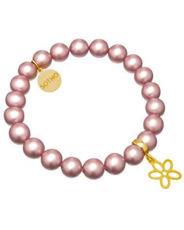 Jasnoróżowa bransoletka blady róż różowa kwiatek złoto perły SWAROVSKI® ELEMENTS
