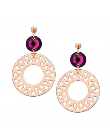 Kolczyki z różowego złota z rozetami i ametystowymi kryształami SWAROVSKI® CRYSTAL