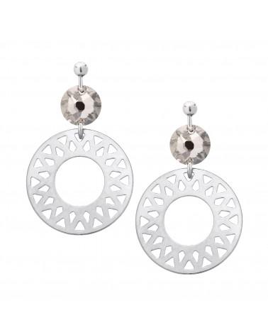 Srebrne kolczyki z arabskimi rozetami i bezbarwnym kryształami SWAROVSKI® CRYSTAL