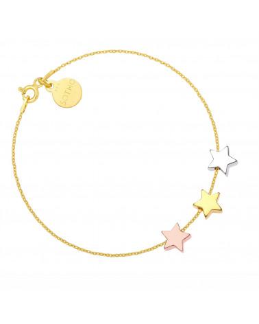 Złota bransoletka ze srebrną i złotymi gwiazdkami