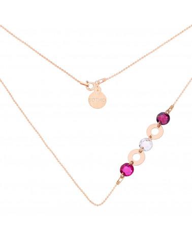 Naszyjnik z różowego złota z karmami i kryształami SWAROVSKI® CRYSTAL